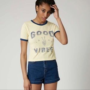 Topshop Good Vibes Faded Yellow Short Sleeve Top